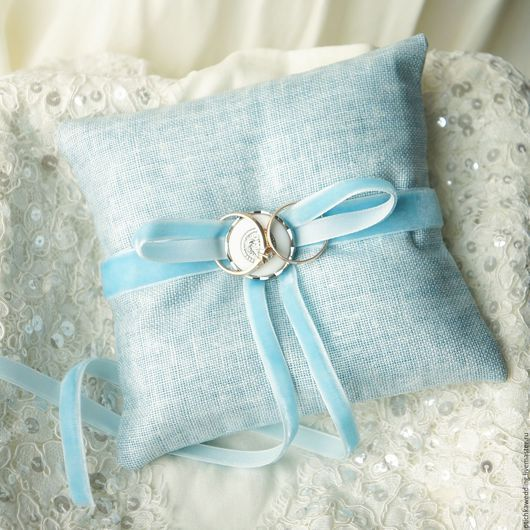 Свадебные аксессуары ручной работы. Ярмарка Мастеров - ручная работа. Купить Голубая подушечка для обручальных колец. Handmade. Голубой