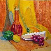 Картины ручной работы. Ярмарка Мастеров - ручная работа Натюрморт с сыром, картина масляной пастелью. Handmade.