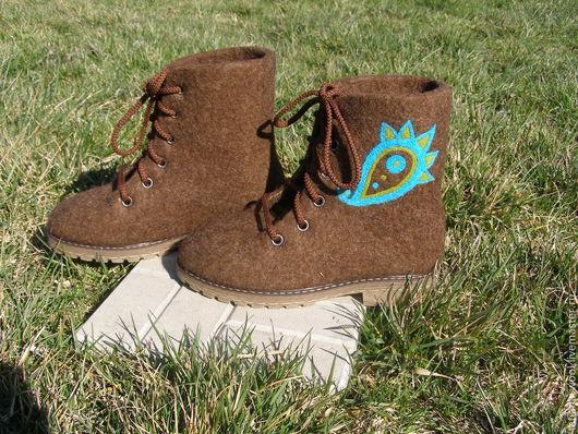 Обувь ручной работы. Ярмарка Мастеров - ручная работа. Купить Ботинки валяные. Handmade. Коричневый, валенки ручной валки, кардочёс