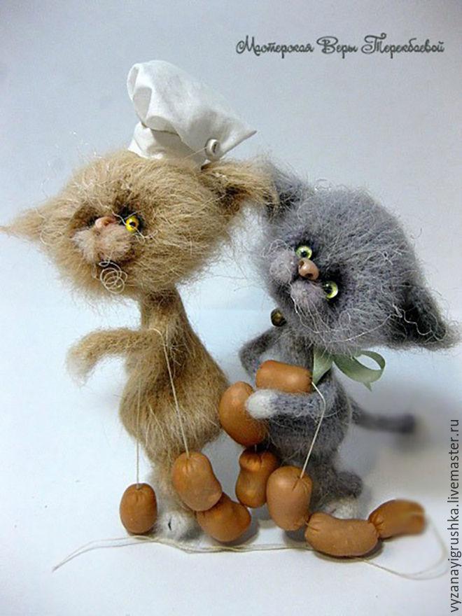 Купить Котенок-поваренок - кремовый, кот, котенок, котик, котик вязаный, котик игрушка