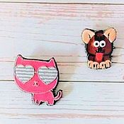 handmade. Livemaster - original item Set of brooches Cat and puppy. Handmade.