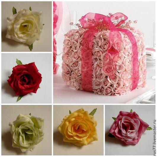 Материалы для флористики ручной работы. Ярмарка Мастеров - ручная работа. Купить Бутон розы средний. Handmade. Разноцветный, роза из ткани