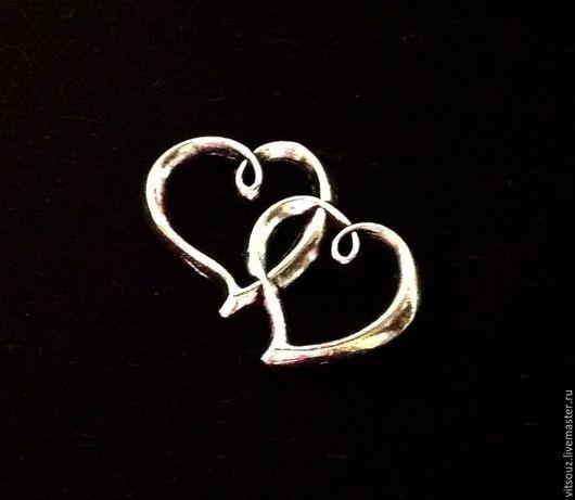 Арт. B05054 Подвеска `Влюбленные сердца`  Цвет: Античное серебро