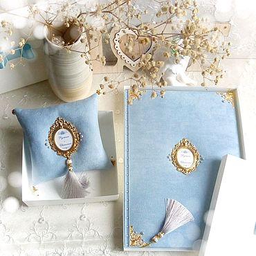 """Свадебный салон ручной работы. Ярмарка Мастеров - ручная работа Папка для свидетельства """"Нежно-голубой"""" именная. Handmade."""