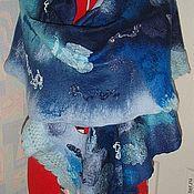 Аксессуары ручной работы. Ярмарка Мастеров - ручная работа Палантин из шерсти Синий иней. Handmade.