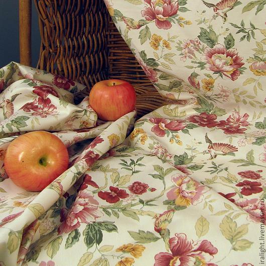 Шитье ручной работы. Ярмарка Мастеров - ручная работа. Купить Ткань Прованс  591/01. Handmade. Хлопок, цветы, птицы, ткани