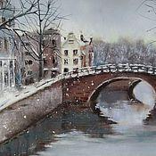 Картины и панно handmade. Livemaster - original item Winter landscape Amsterdam (city) brown grey). Handmade.