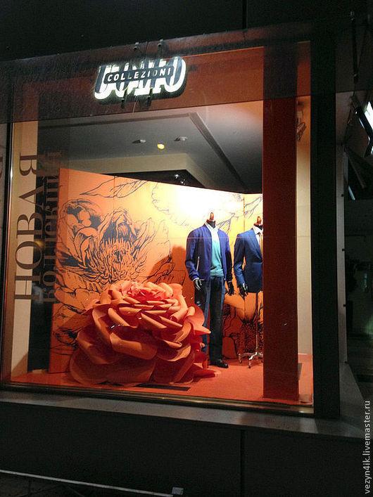 Цветы ручной работы. Ярмарка Мастеров - ручная работа. Купить Роза из бумаги для оформления витрины. Handmade. Оранжевый, бумажная роза