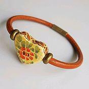 Украшения handmade. Livemaster - original item Heart bracelet with a heart shaped ceramic bead. Handmade.