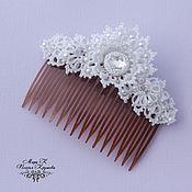 Свадебный салон ручной работы. Ярмарка Мастеров - ручная работа Свадебный гребень для волос, кружевное украшения для прически, анкарс. Handmade.