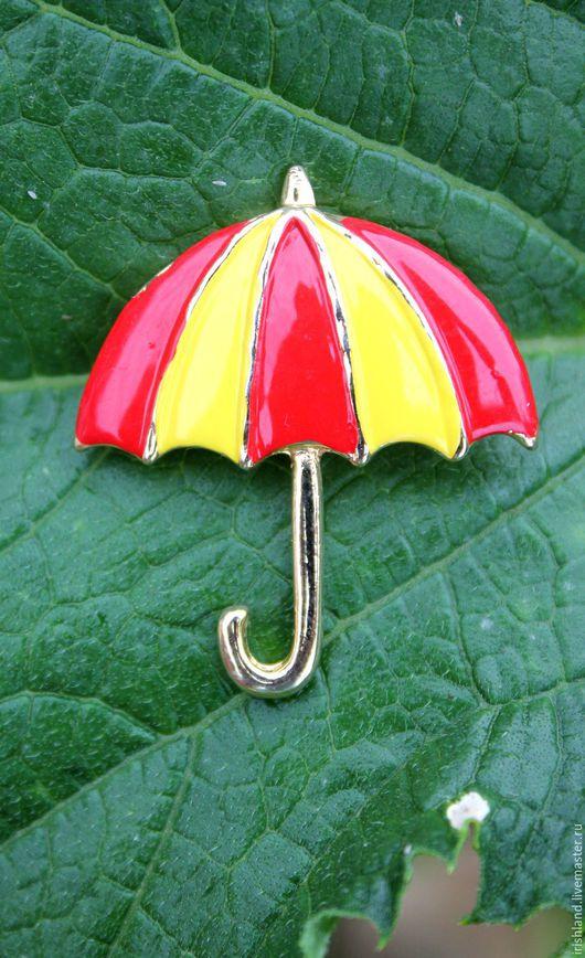 """Винтажные украшения. Ярмарка Мастеров - ручная работа. Купить TAIWAN Винтажная брошь эмали """"Яркий зонтик"""", США. Handmade."""