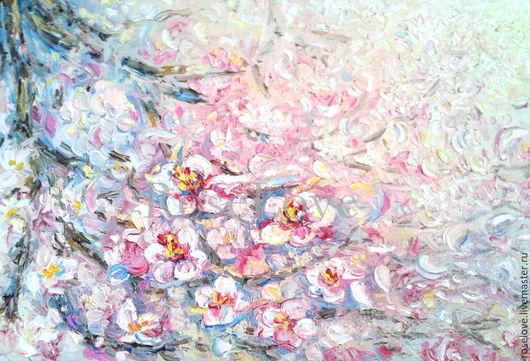Картина  маслом Полет цветущей сакуры` (Масло 30/45) Катерины Аксеновой.картина сакура купить,картина сакура,картина ветка сакуры,картины маслом сакура,картина сакура в цвету,дерево сакура картины