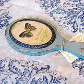 """Для дома и интерьера ручной работы. Ярмарка Мастеров - ручная работа Зеркало с ручкой """"Голубая бабочка"""" (дерево, декупаж, подарок). Handmade."""