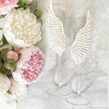 """Свадебный салон ручной работы. Ярмарка Мастеров - ручная работа Свадебные бокалы """"Крылья ангела"""". Handmade."""