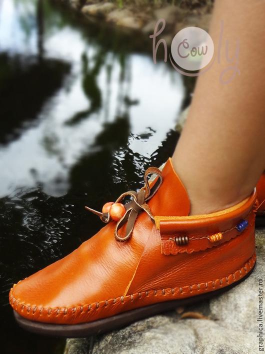 """Обувь ручной работы. Ярмарка Мастеров - ручная работа. Купить Стильные кожаные ботиночки """"Charmes"""". Handmade. Рыжий, ботинки из кожи"""