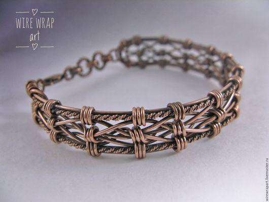 Браслеты ручной работы. Ярмарка Мастеров - ручная работа. Купить Браслет Snowflake wire wrap медный. Handmade. Комбинированный