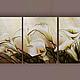 """Картины цветов ручной работы. Ярмарка Мастеров - ручная работа. Купить Объемная фреска """"Весенние каллы"""". Handmade. Оливковый"""