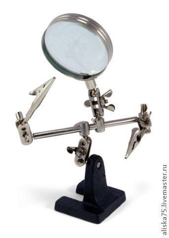 Для украшений ручной работы. Ярмарка Мастеров - ручная работа. Купить Держатель с увеличительным стеклом. Handmade. Серый, линза, инструмент