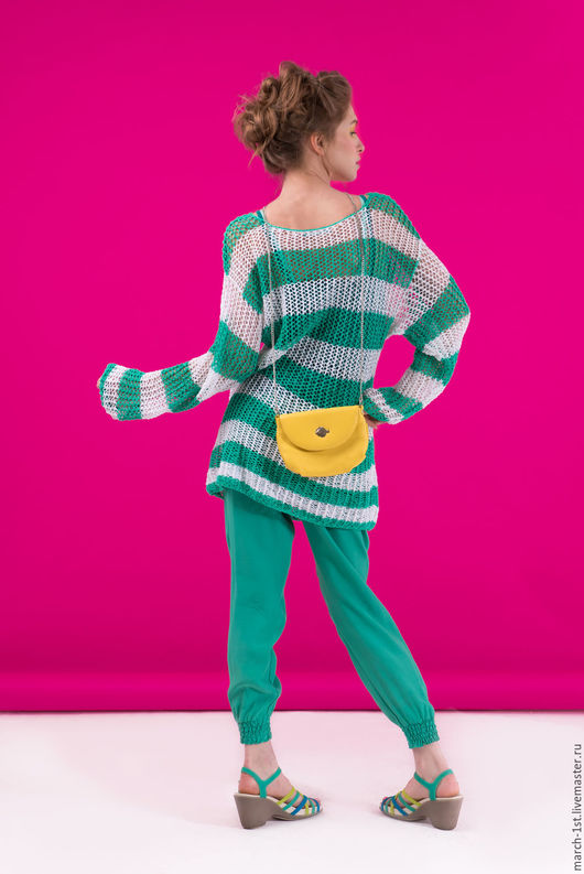 Кофты и свитера ручной работы. Ярмарка Мастеров - ручная работа. Купить Ажурная тельняшка. Handmade. Морская волна, ажурная тельняшка