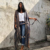 Ветровки ручной работы. Ярмарка Мастеров - ручная работа Пляжное кимоно с длинным рукавом из 100%-ной индийской вискозы. Handmade.