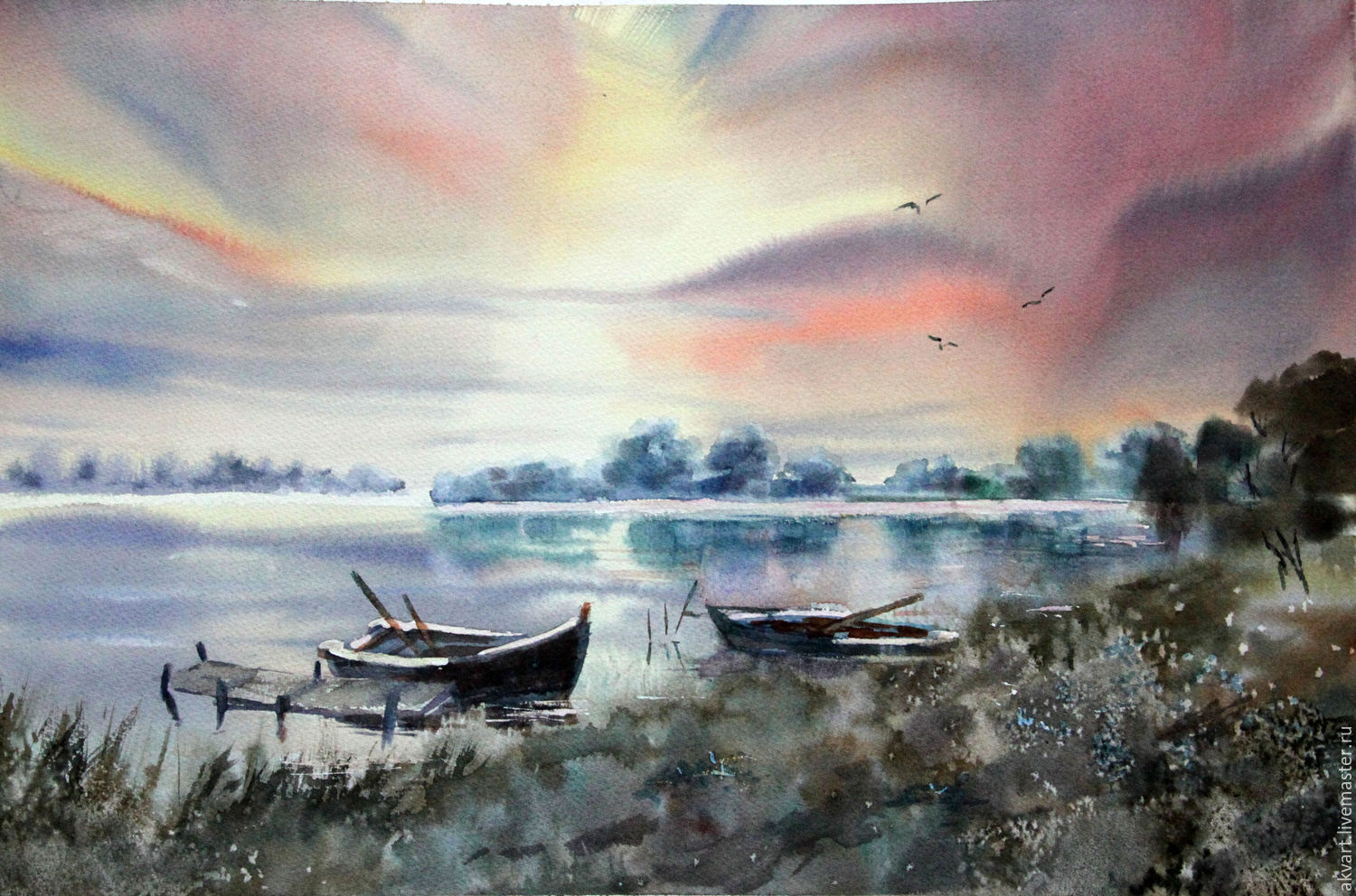 watercolor. landscape. Boats at sunset, Pictures, Moscow,  Фото №1