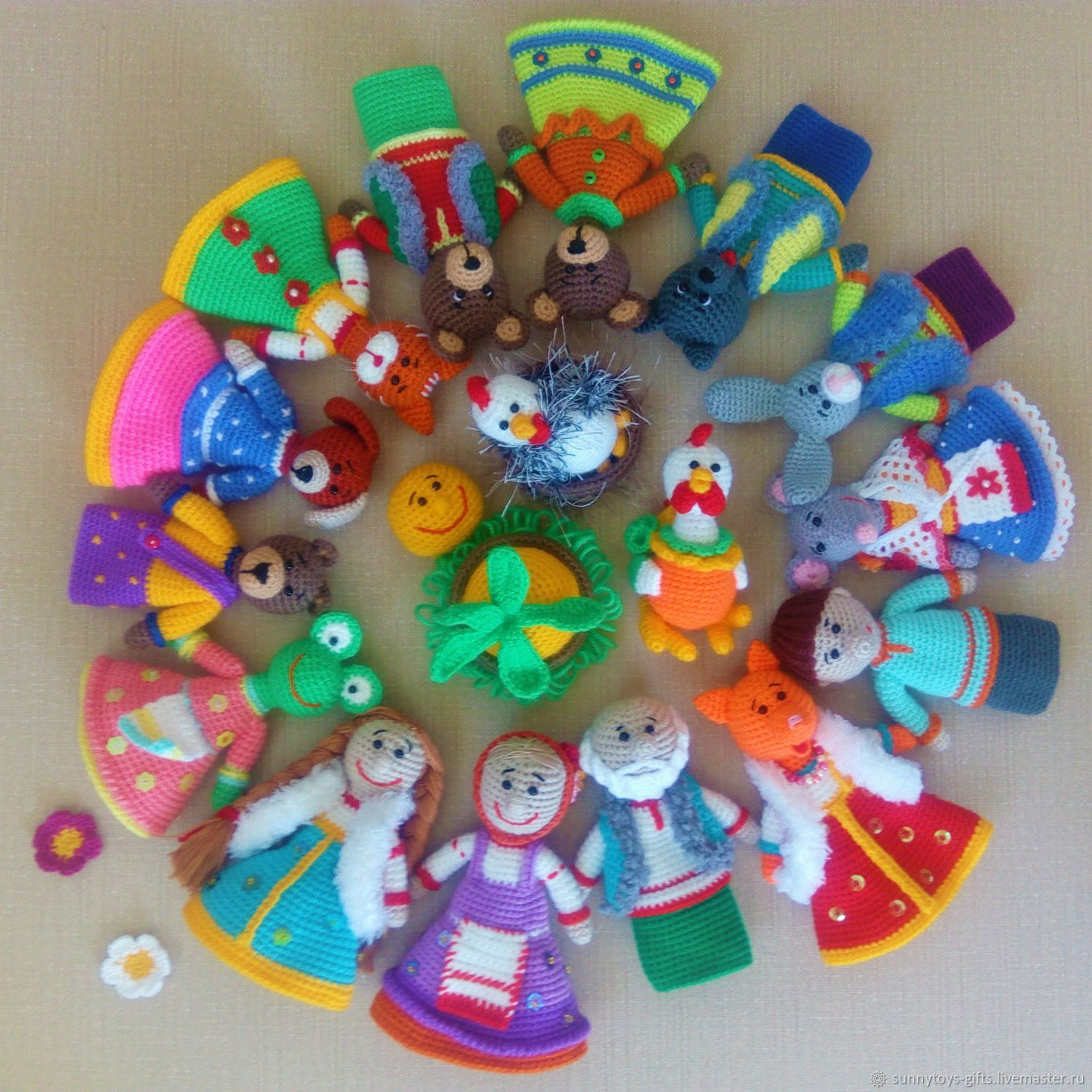A large set of Russian fairy tales. Table theatre knitted, Dolls, Berezovsky,  Фото №1