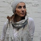 """Аксессуары ручной работы. Ярмарка Мастеров - ручная работа Комплект вязаный шарф+шапка """"Веселый твид"""". Handmade."""