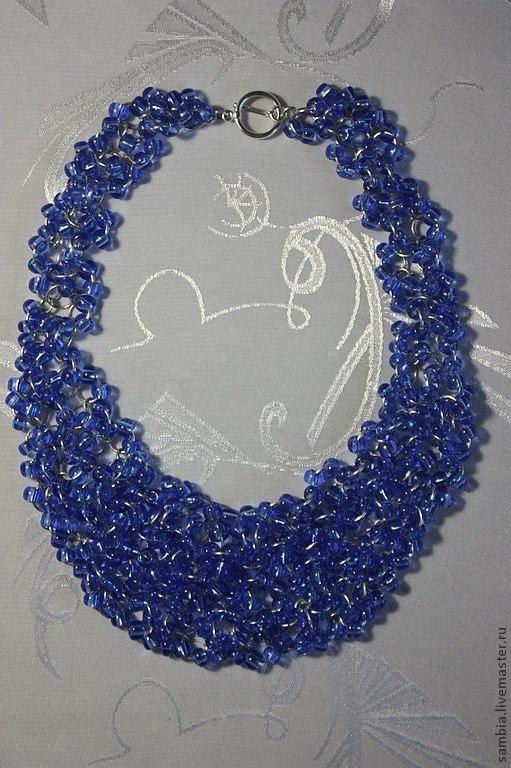 """Колье, бусы ручной работы. Ярмарка Мастеров - ручная работа. Купить Колье """"Синее. Лето"""" из крупного бисера. Handmade. Синий"""