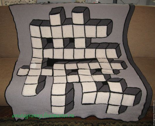 """Текстиль, ковры ручной работы. Ярмарка Мастеров - ручная работа. Купить 3Д плед """"Эрудит"""". Handmade. Чёрно-белый, серый"""