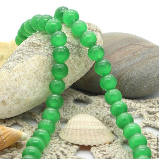Для украшений ручной работы. Ярмарка Мастеров - ручная работа. Купить Кошачий глаз зеленый бусины шар 8мм - арт.3-13. Handmade.
