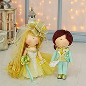 Куклы и игрушки handmade. Livemaster - original item The bride and groom dolls wedding couple`s textile gift to the newlyweds. Handmade.