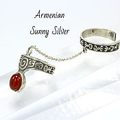 Украшения handmade. Livemaster - original item Double ring with red carnelian in 925 sterling silver (VIDEO). Handmade.