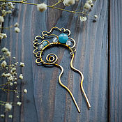 Украшения handmade. Livemaster - original item Small brass hair clip with stones, boho wire wrap blue. Handmade.