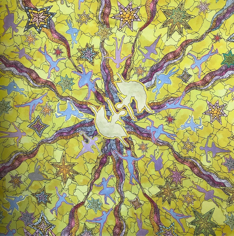 Шелковый платок «Балет золотисто-оливковый», Платки, Москва,  Фото №1