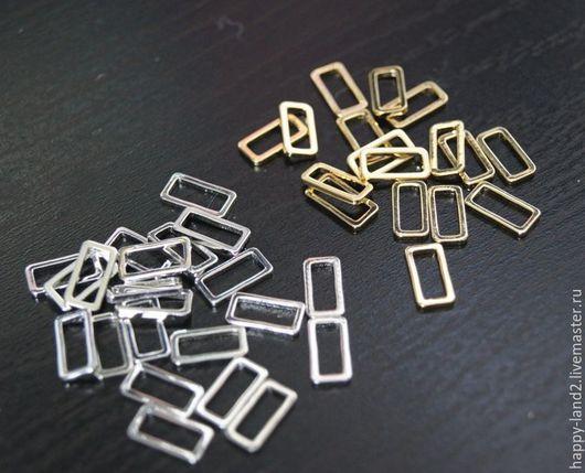 Для украшений ручной работы. Ярмарка Мастеров - ручная работа. Купить Коннектор прямоугольник 10х5 мм,  2 покрытия. Handmade.