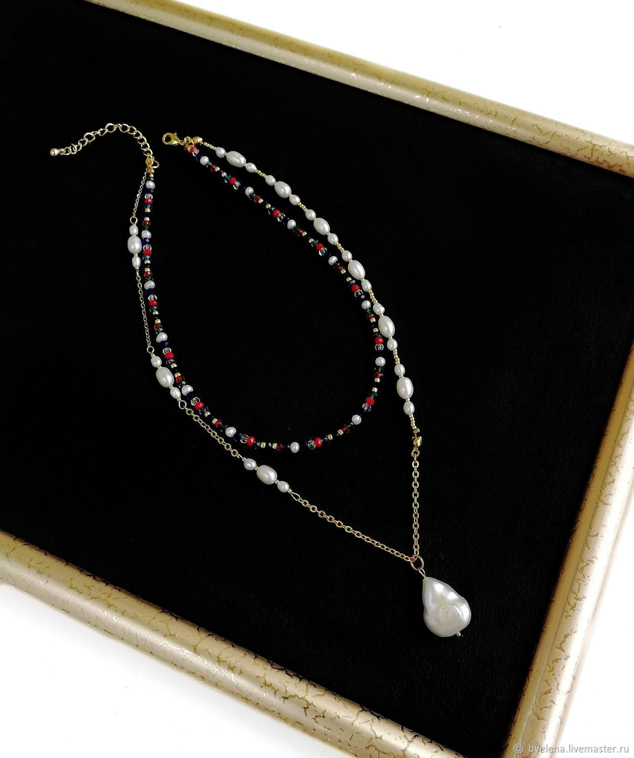 Small bead necklace. Layered necklace with pearls, Necklace, Novosibirsk,  Фото №1