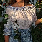 Блузки ручной работы. Ярмарка Мастеров - ручная работа Длинная белая летняя хлопковая  блузка-туника с рукавом 3/4. Handmade.