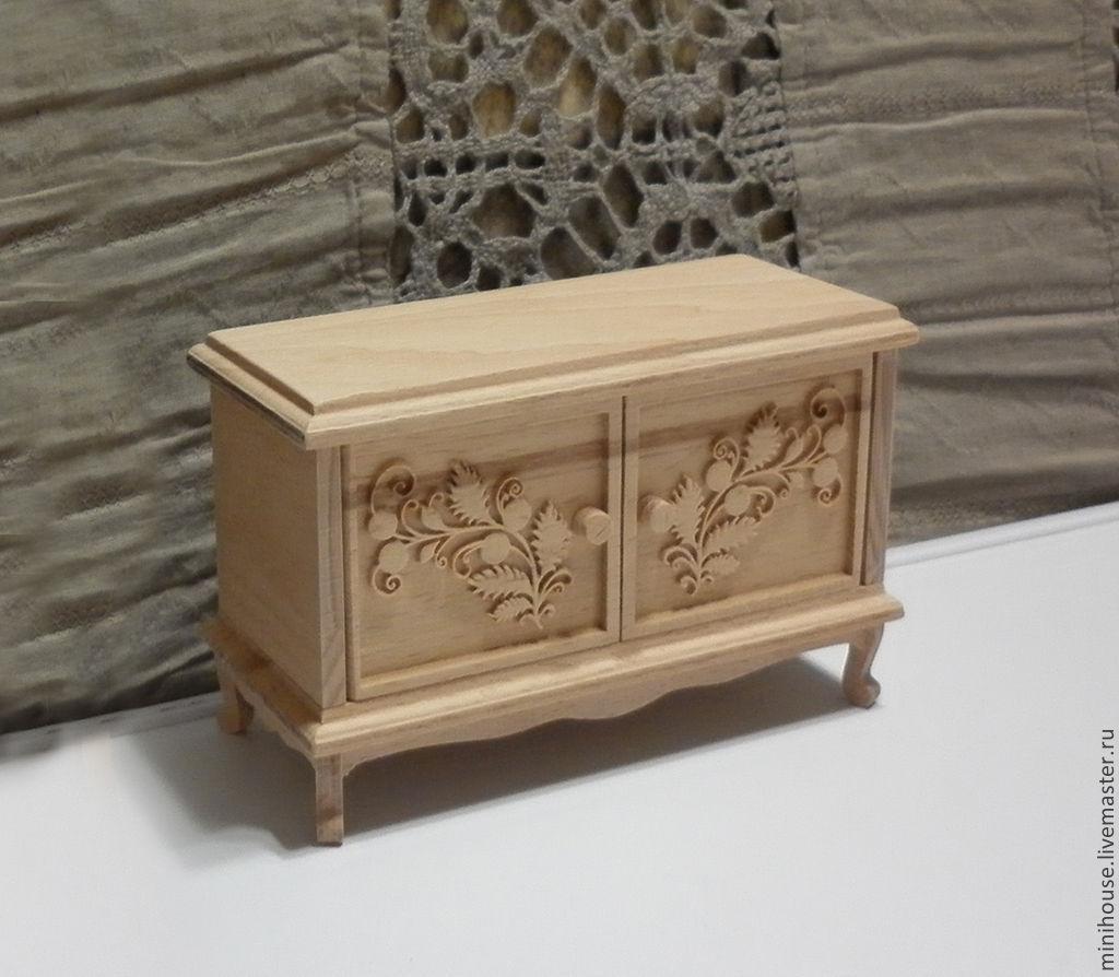 Миниатюра ручной работы. Ярмарка Мастеров - ручная работа. Купить Тумбочка деревянная с объёмной резьбой, миниатюра. Handmade. Бежевый
