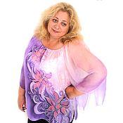 """Одежда ручной работы. Ярмарка Мастеров - ручная работа Блуза """"Вальс цветов"""" - шелк, батик, большой размер.. Handmade."""