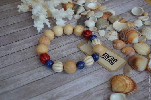 Браслеты ручной работы. Ярмарка Мастеров - ручная работа. Купить Морской браслет. Handmade. Ярко-красный, синийбелыйкрасный, красныйбраслет, говлит