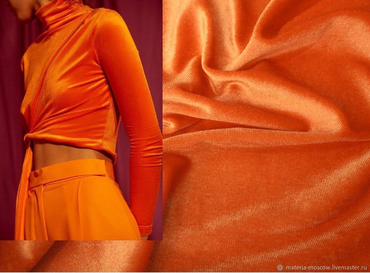Бархат-стретч цвет неон оранжевый неон салатовый Италия, Ткани, Москва,  Фото №1