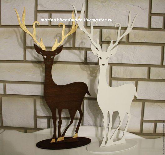 Новый год 2017 ручной работы. Ярмарка Мастеров - ручная работа. Купить Декоративные олени. Handmade. Комбинированный, коричневый, олененок, фанера