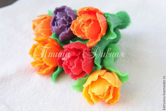 """Мыло ручной работы. Ярмарка Мастеров - ручная работа. Купить Мыло """"Махровый тюльпан"""". Handmade. Разноцветный, цветочное мыло"""