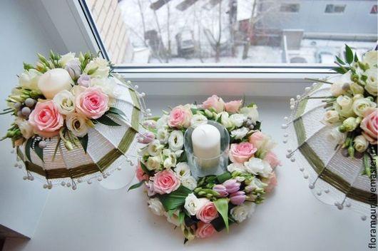 Свадебные цветы ручной работы. Ярмарка Мастеров - ручная работа. Купить цветочное оформление свадебного стола Тепло и нежность. Handmade.