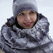 Аксессуары handmade. Livemaster - original item Grey Cane (knitted Snood warm hat, mitts). Handmade.