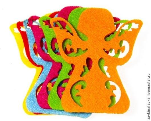 """Другие виды рукоделия ручной работы. Ярмарка Мастеров - ручная работа. Купить Вырубка из фетра """"Ангел"""" на стикере. Handmade. Разноцветный"""