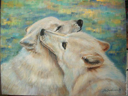 Животные ручной работы. Ярмарка Мастеров - ручная работа. Купить Картина маслом Белые волки. Handmade. Голубой, волк