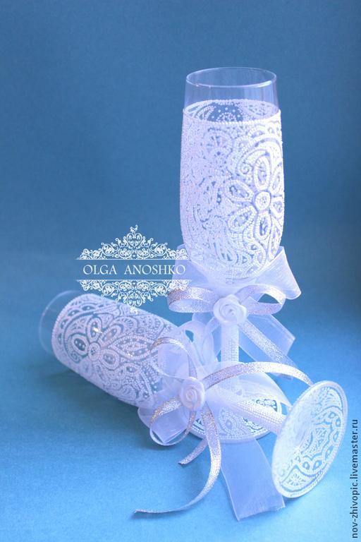 Wedding glasses 'LACE'. Dot painting on glass, Wedding glasses, Velikiy Novgorod,  Фото №1