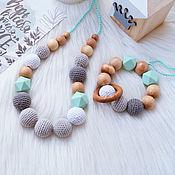 Куклы и игрушки handmade. Livemaster - original item Teething toy and slingobusy with silicone beads - Mint. Handmade.