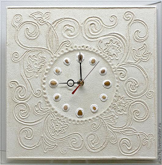 """Часы для дома ручной работы. Ярмарка Мастеров - ручная работа. Купить авторские часы из песка """"НЕЖНОСТЬ"""". Handmade. Бежевый"""